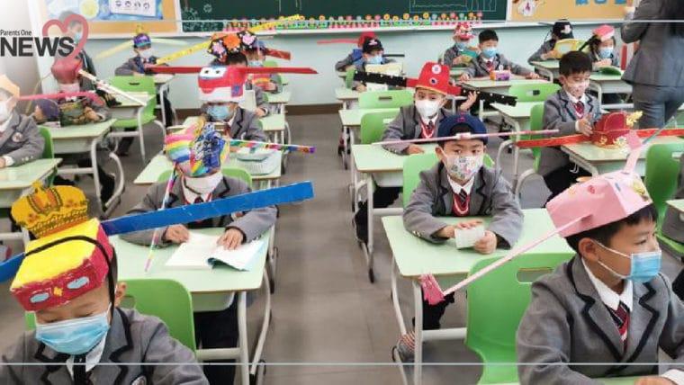 NEWS: สุดบรรเจิด!! เด็กจีนทำหมวก 1 เมตร รักษาระยะห่างในห้องเรียน