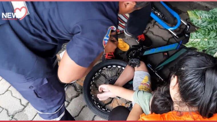NEWS: พ่อแม่ต้องระวัง เด็กขาติดบันไดจักรยาน เพราะล้มผิดท่า